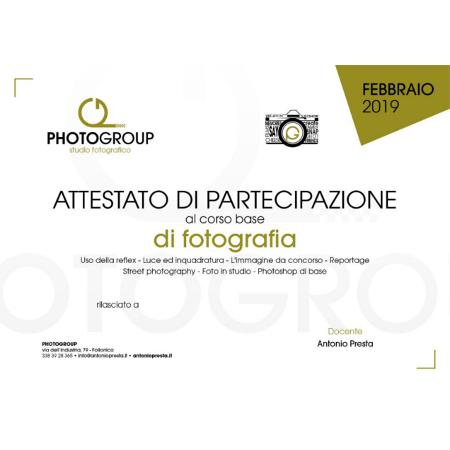 Attestato partecipazione corso Fotografia Photogroup Follonica 2019 1